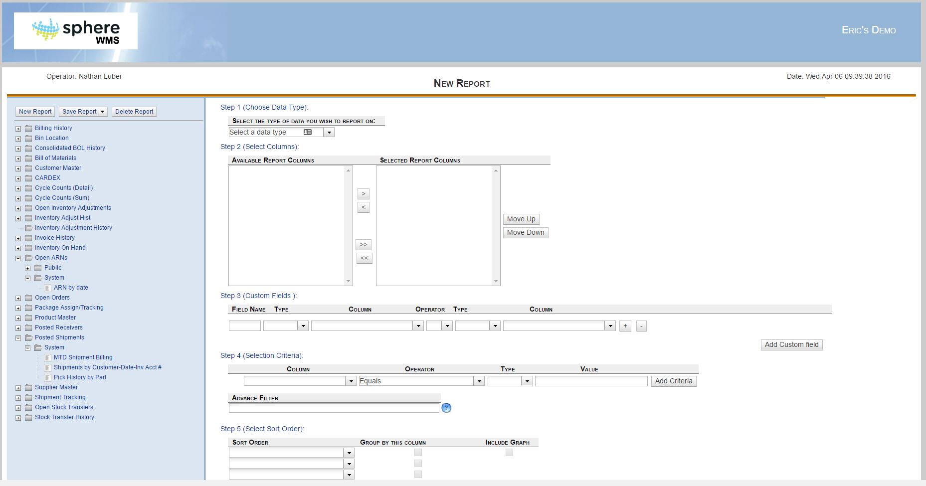 Ad-hoc reporting main page - Warehouse Management Software