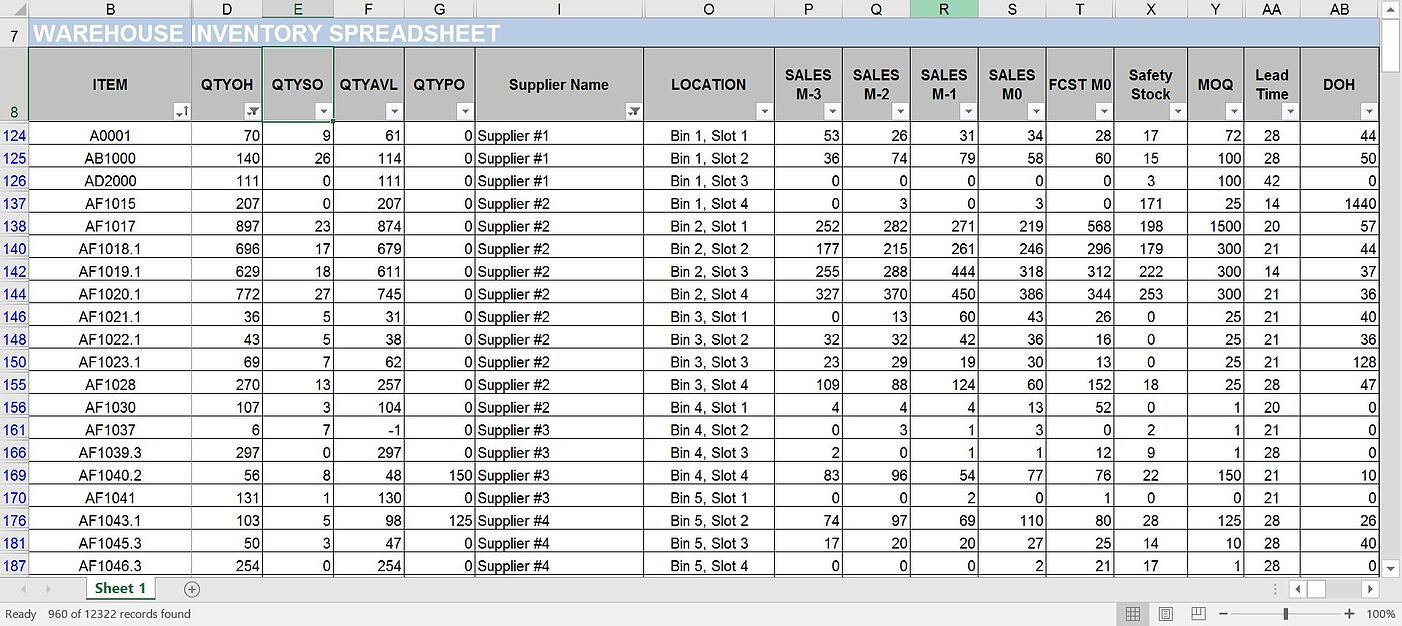 Warehouse Inventory Tracking Spreadsheet
